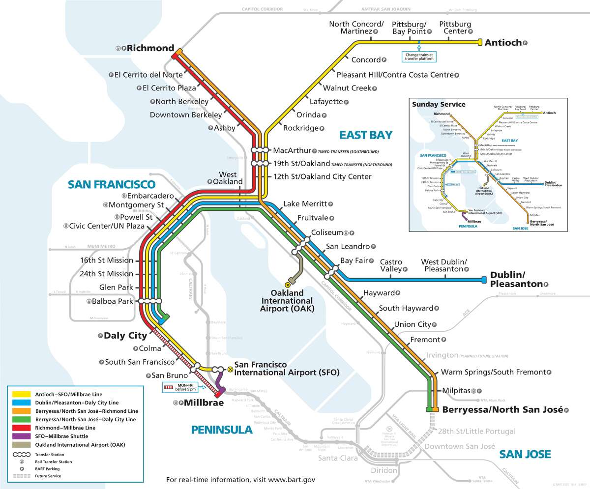 The new map (shown above) has been scaled to include South Bay details, including the planned Phase II extension into Downtown San Jose and Santa Clara and the planned Irvington future station. A date still has yet to be announced for when the extension will actually begin. Other map improvements include a new regional rail icon to show connections to other rail systems, a new transfer open bubble symbol to emphasize ease of changing trains to a different line at the same station and several changes to make the map more readable.