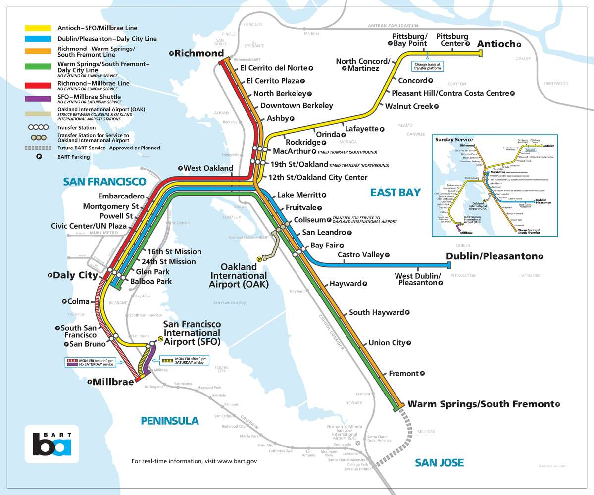 The current BART system map is seen above. If you can't get enough BART maps, you can tune into the organization's official podcast to learn more with its map designer or see how the transit system compares to 10 big-time transit systems around the world (overlaid on the BART map). Tessa McLean is a digital editor with SFGATE. Email her at tessa.mclean@sfgate.com or follow her on Twitter @mcleantessa.