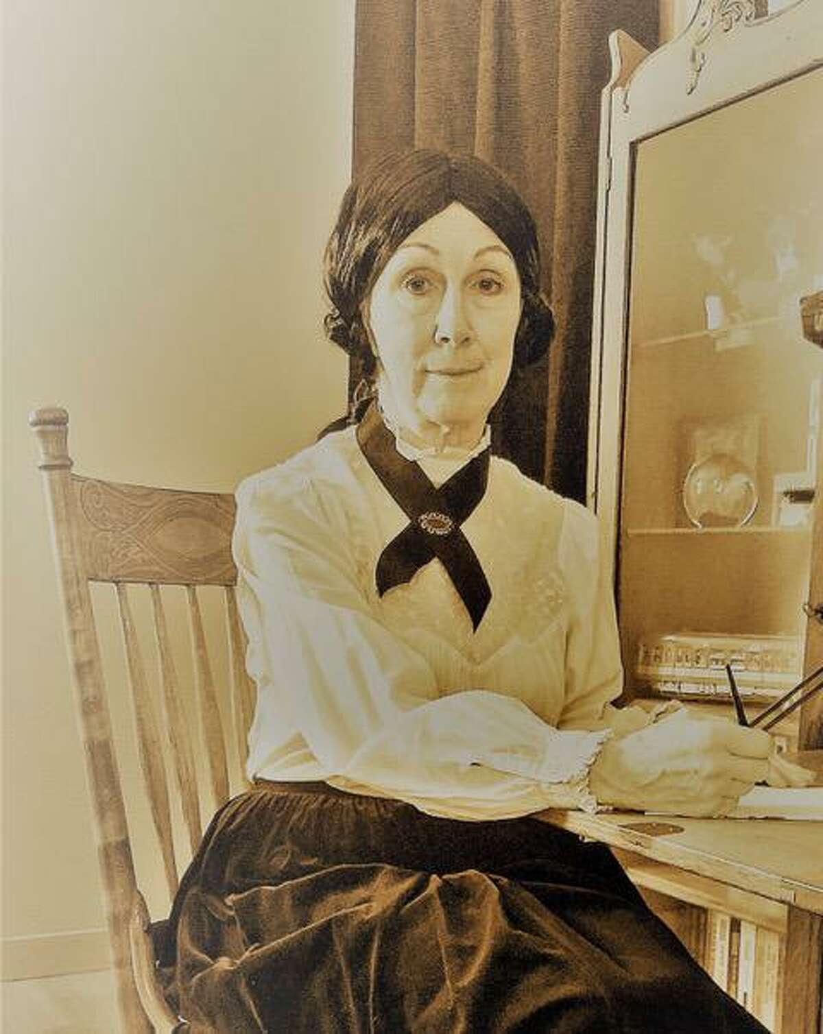 Barb Jennes recreated image of Emily Dickinson.