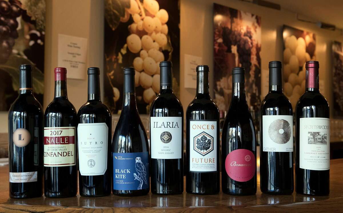 A selection of California wines on the bar during a winemaker meet and greet for wine club members at California Wine Merchant in San Francisco, Calif., on Monday, February 24, 2020.
