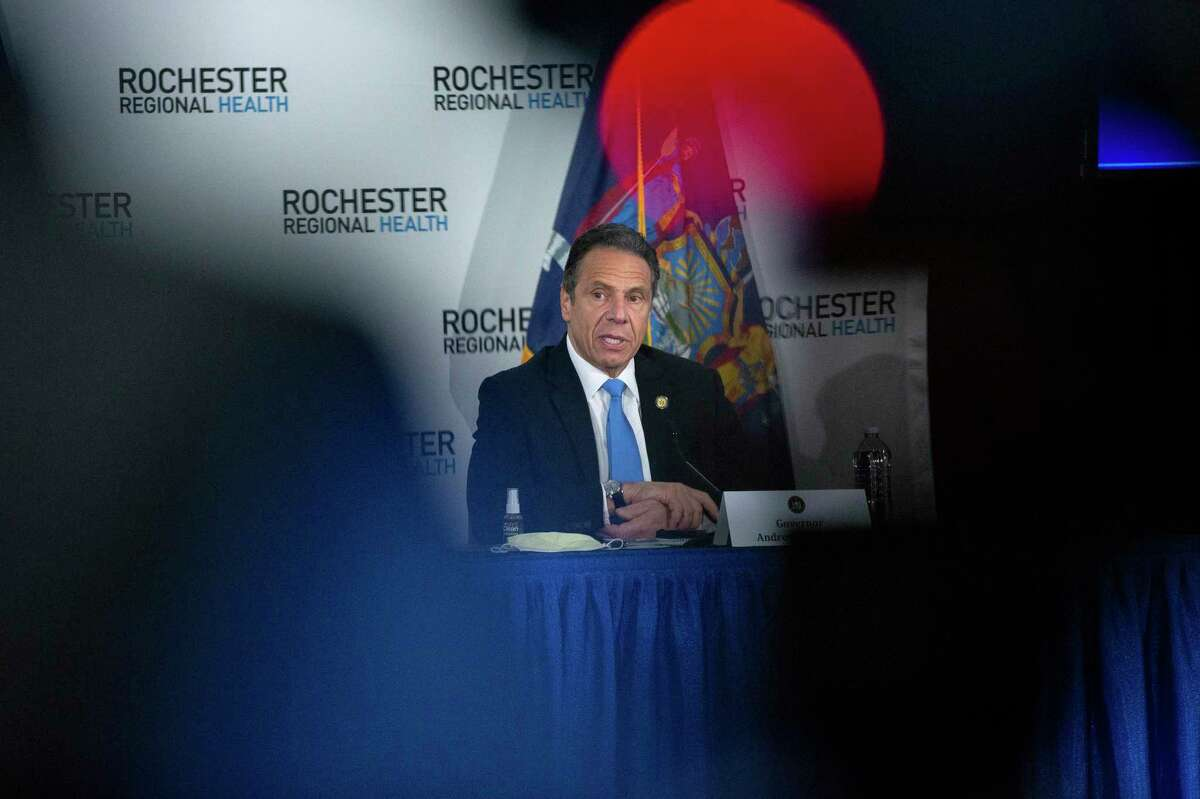 New York Gov. Andrew Cuomo delivers remarks during a news conference at the Rochester Regional Health Riedman Campus Training Center in Irondequoit, N.Y., Monday, May 11, 2020. In the most concrete step toward restarting his battered and shuttered state, Cuomo announced on Monday that three upstate regions might partially reopen this weekend, with limited construction, manufacturing and curbside retail.