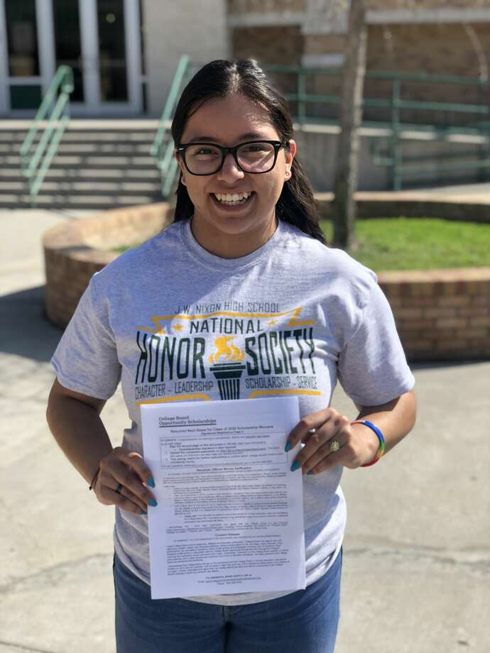 "Nixon High School Senior Emily Lujano was one of 4,000 students to receive the $1,000 ""Complete Your Journey"" College Board Scholarship.