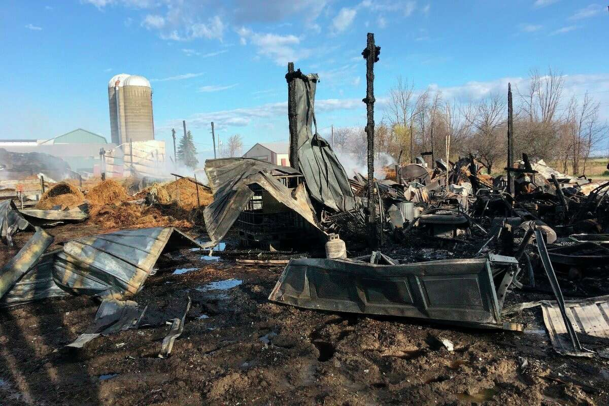 A GoFundMe account has been created to provide Bruce and Vicki Geiger with financial assistance, aftera firedestroyed their barn and shop.Sigel Township Fire Chief Joel Kiehl estimated the total damage to be $350,000. (Vicki Geiger/Courtesy Photo)