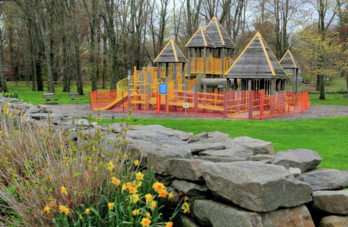 The playground remains closed inside Twin Brooks Park in Trumbull, Conn., on Friday May 1, 2020. Old Mine Park and Twin Brooks Park opened at 9 a.m. and plans are to keep the park open from 9 a.m. to 7 p.m. for passive recreation only: walking, biking and exercising. Playgrounds, rest rooms, athletic fields and pavilions remain closed.