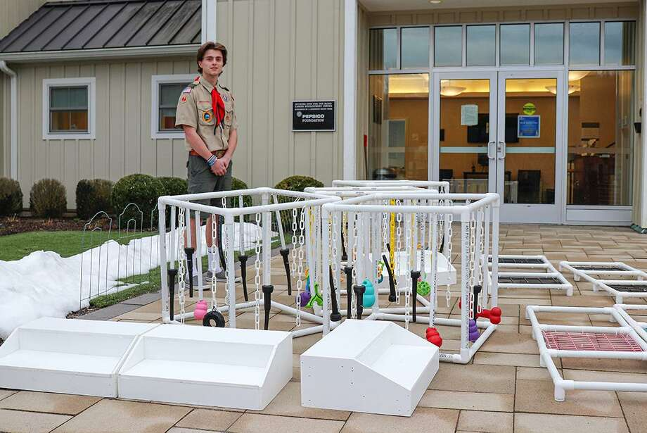 Darien Eagle Scout Garrett Martin has been a longtime volunteer for Guiding Eyes for the Blind, so it was the perfect choice for his Eagle Scout project. Photo: Contributed /