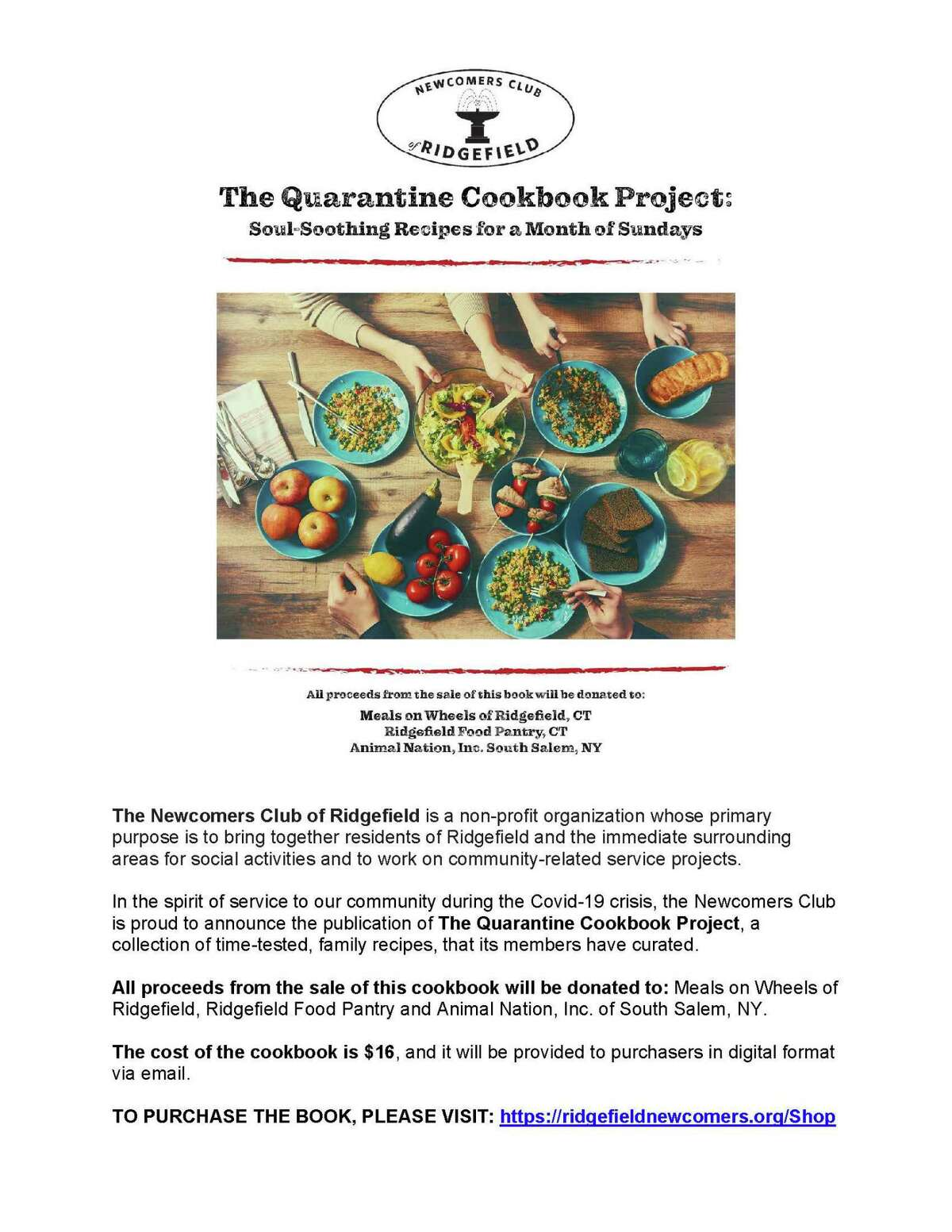 The Newcomers Club announces the publication of The Quarantine Cookbook Project, a collection of time-tested, family recipes, that its members have curated.