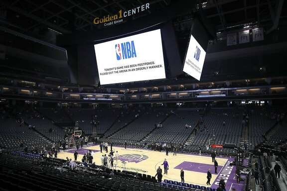 The game between the New Orleans Pelicans and the Sacramento Kings is postponed because of coronavirus concerns at Golden 1 Center in Sacramento, Calif., on March 11, 2020. (Ezra Shaw/Getty Images/TNS)