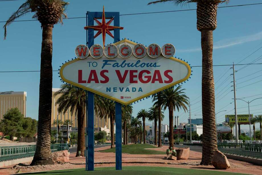 "The ""Welcome to Las Vegas"" sign is seen on a quiet Las Vegas Strip amid the novel coronavirus pandemic. Photo: Bridget Bennett / Getty Images / AFP or licensors"