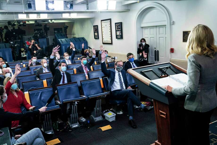 Press secretary Kayleigh McEnany speaks to reporters in the James S. Brady Press Briefing Room at the White House on Friday, May 8, 2020. Photo: Washington Post Photo By Jabin Botsford / The Washington Post