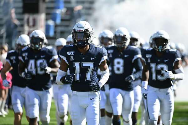 EAST HARTFORD, CT - OCTOBER 19: UConn Huskies head out onto the field prior to the start of the game between the UConn Huskies and the Houston Cougars on October 19, 2019 at Rentschler Field in East Hartford, CT (Photo by Williams Paul/Icon Sportswire via Getty Images)