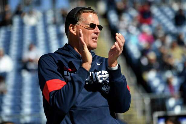 Connecticut head coach Randy Edsall on the sidelines during the first half of an NCAA college football game against Houston Saturday, Oct. 19, 2019, in East Hartford, Conn. (AP Photo/Stephen Dunn)