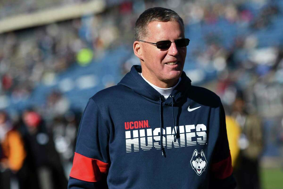 Connecticut head coach Randy Edsall during the first half of an NCAA college football game against East Carolina Saturday, Nov. 23, 2019, in East Hartford, Conn. (AP Photo/Stephen Dunn)
