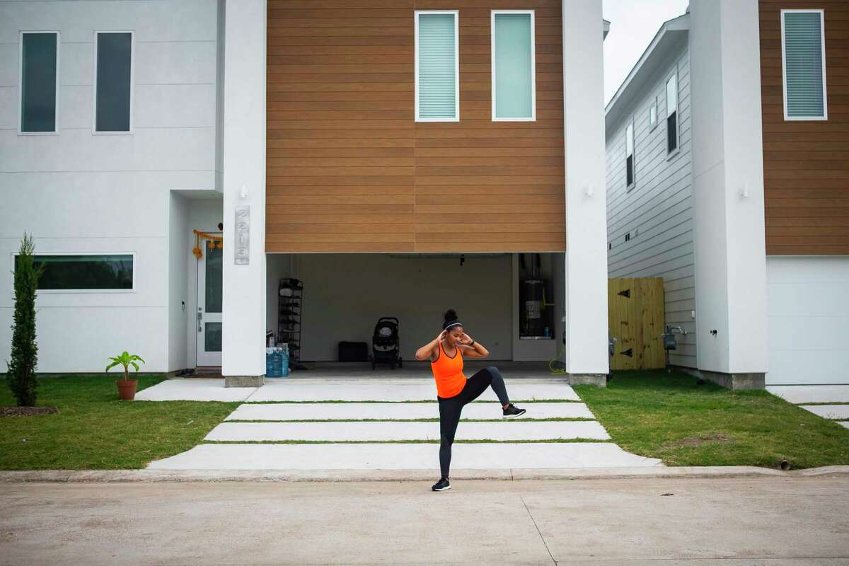 Blackburn and her neighbors stick to body-weight movements that don't require extra exercise equipment.
