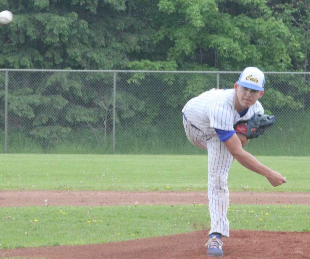 Evart's Jason O'Dell throws a pitch during the 2019 baseball season. (Pioneer photo file)