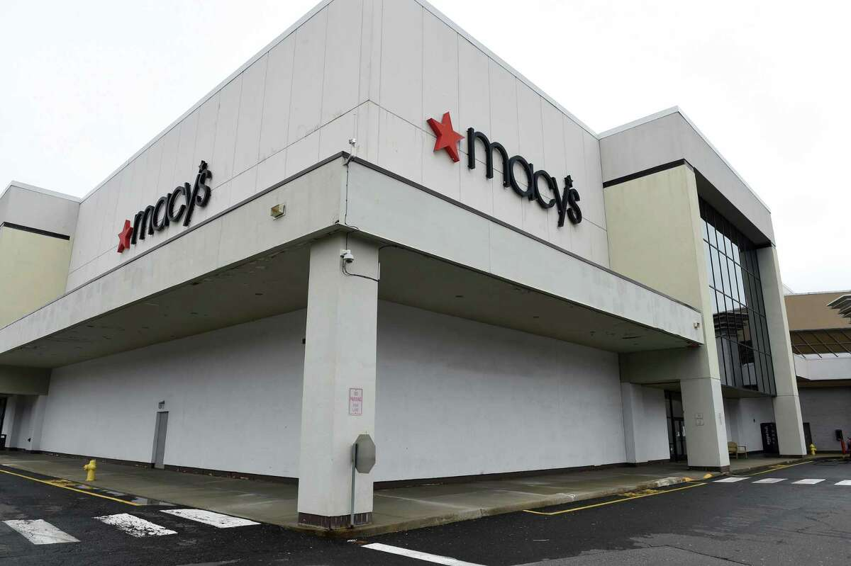 The temporarily closed Macy's department store at the Westfield Trumbull mall on March 30, 2020.