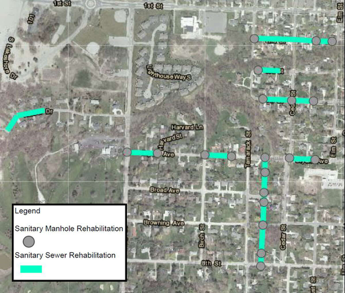 Wastewater collection rehabilitation project map for the east side of Manistee. (Courtesy Map)