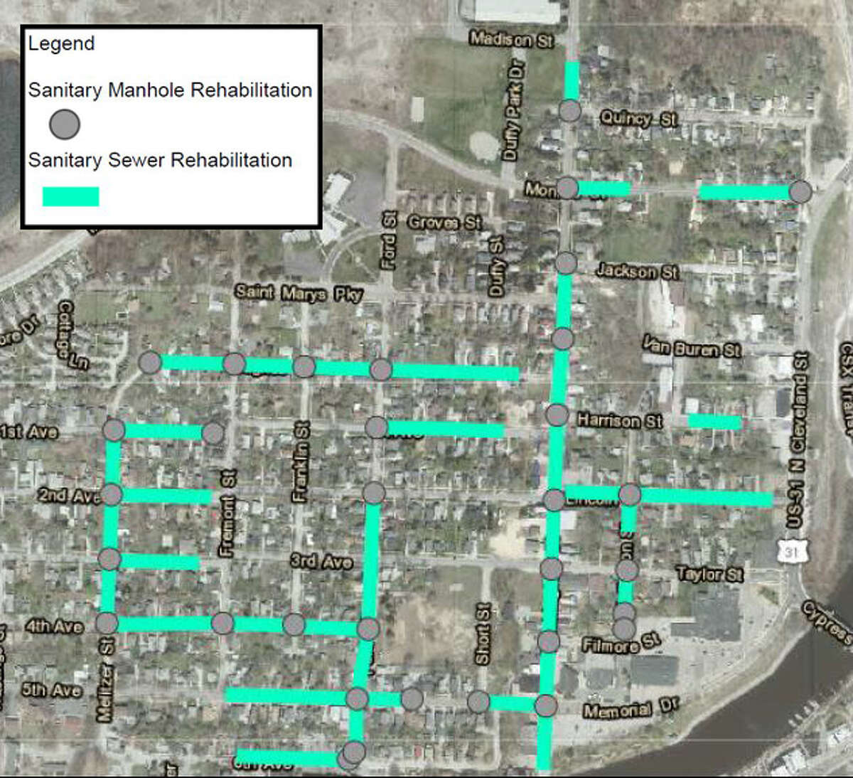 Wastewater collection rehabilitation project map for the north side of Manistee. (Courtesy Map)