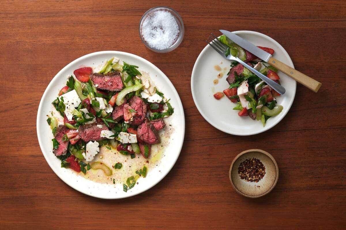 Steak Salad with Celery, Strawberry, Feta, Lemon and Chili