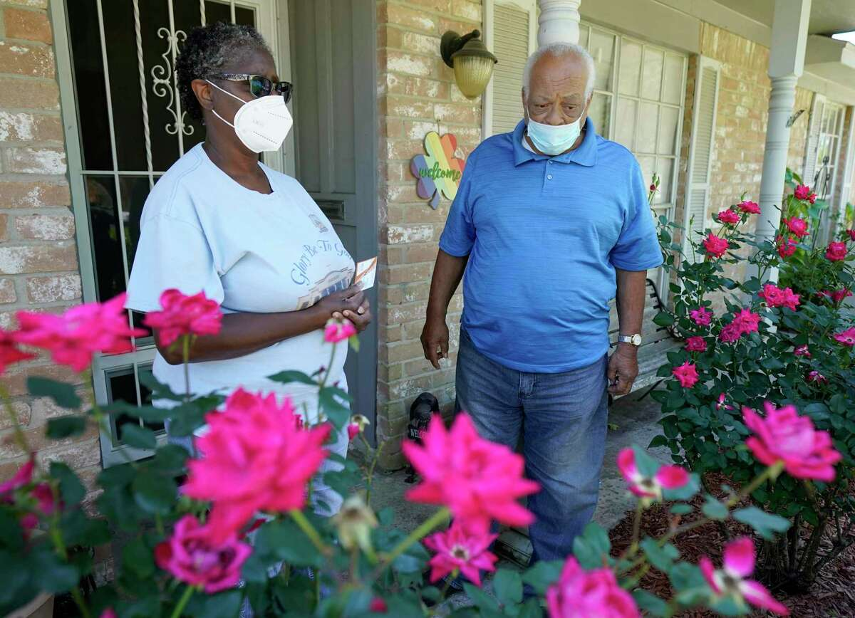 Wilhelmena Beary with her husband, Richard Beary, talk Thursday, April 30, 2020, in Houston about her son, Joshua Johnson, who was shot and killed by a Harris County Sheriff's deputy near their home in the 15000 block of E. Ritter Circle on April 22.