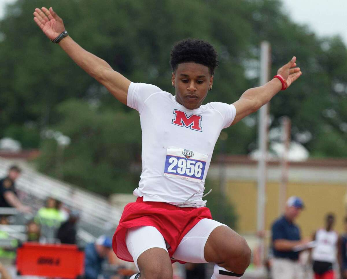 Caleb Malbrough of Class 5A Manvel won triple-jump gold at last year's UIL State Track and Field Championships in Austin.