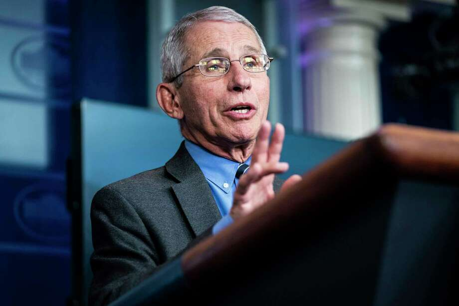 Anthony Fauci, director of the National Institute of Allergy and Infectious Diseases, speaks during a briefing at the White House on April 6, 2020. Photo: Washington Post Photo By Jabin Botsford. / The Washington Post