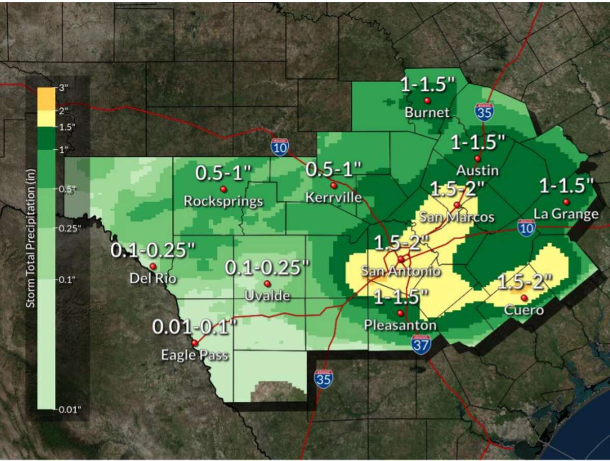 Heavy rainfall and severe thunderstorms are expected for San Antonio Tuesday afternoon into the evening, the National Weather Service said.