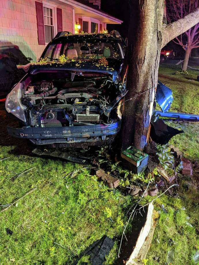 A driver refused medical treatment after their vehicle smashed into a tree in New Fairfield Tuesday morning on May 12, 2020. The New Fairfield Volunteer Fire Department responded to the one-car accident at the corner of Gillotti and Ball Pond Road at 4:04 a.m. Photo: New Fairfield Volunteer Fire Department