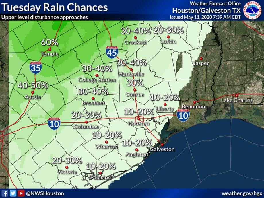 The National Weather Service predicts rain in Houston on Tuesday, May 12, 2020. Photo: National Weather Service