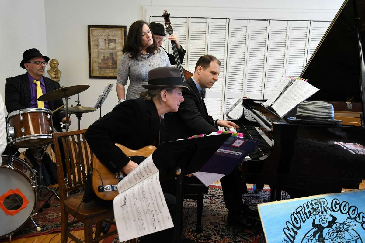 Mother Goose Jazz band (from left): Gene Garone, Drums; Cathy Olsen, Lead Vocals; Mike Lawrence, Bass; guest guitarist Chuck D'Aloia; and David Gleason, Piano,