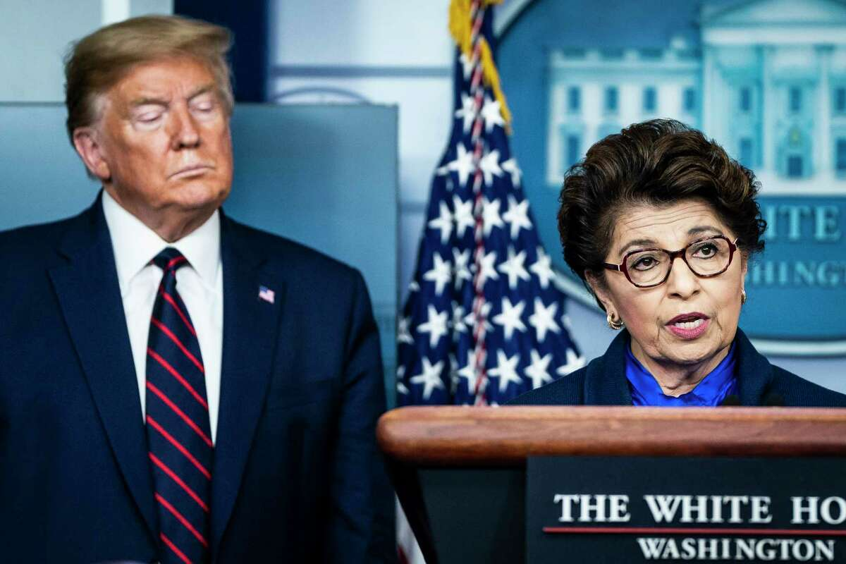 President Trump and Small Business Administration chief Jovita Carranza at the White House.