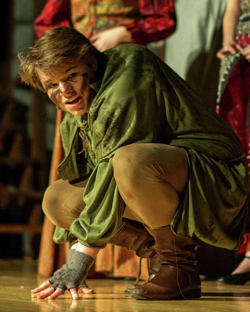 Michael Johnson as Quasimodo in Hudson Falls High School's 2019 production of