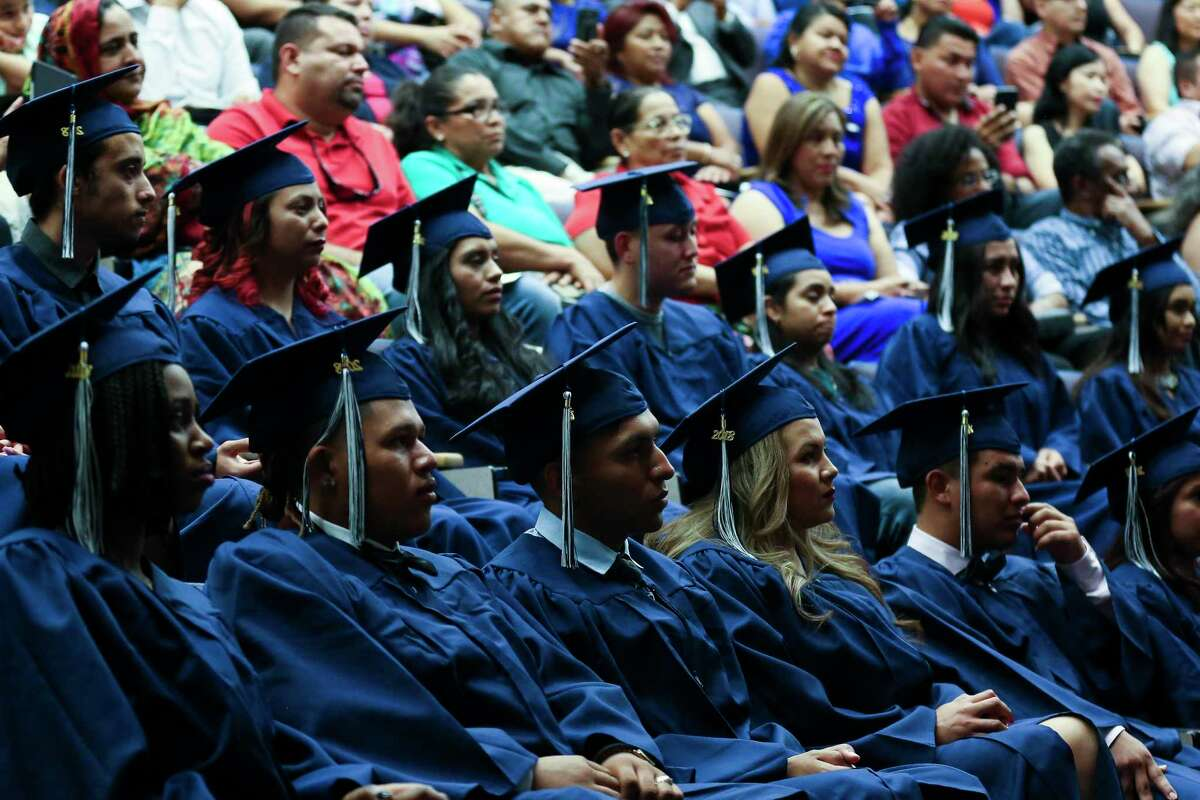 """Some Houston ISD families also protested that district's plans. """"Many have had to overcome many obstacles to get here,"""" reads a change.org petition aimed at reinstating graduation in person.Seniors attending HISD, such as the ones originally shown here at a 2018 commencement, will not have in-person graduation ceremonies this year, Interim Superintendent Grenita Lathan said Tuesday. Instead, the district will hold virtual ceremonies starting in mid-June."""