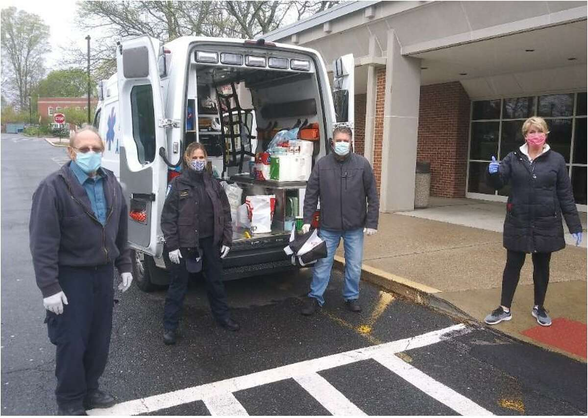 Trumbull EMS and State Reps. Dave Rutigliano (R-123), Laura Devlin (R-134) and Ben McGorty (R-122) are co-hosting a community social distancing food drive every Wednesday evening in the Trumbull Library parking lot, 33 Quality St., from 4-6 p.m.