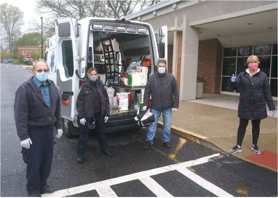 Trumbull EMS and State Reps. Dave Rutigliano (R-123), Laura Devlin (R-134) and Ben McGorty (R-122) are co-hosting a community social distancing food drive every Wednesday evening in the Trumbull Library parking lot, 33 Quality St., from 4-6 p.m. Photo: Contributed Photo