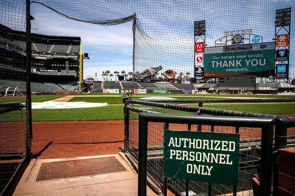 The view next to the premium field club seats at Oracle Park on Friday, May 8, 2020, in San Francisco, Calif.