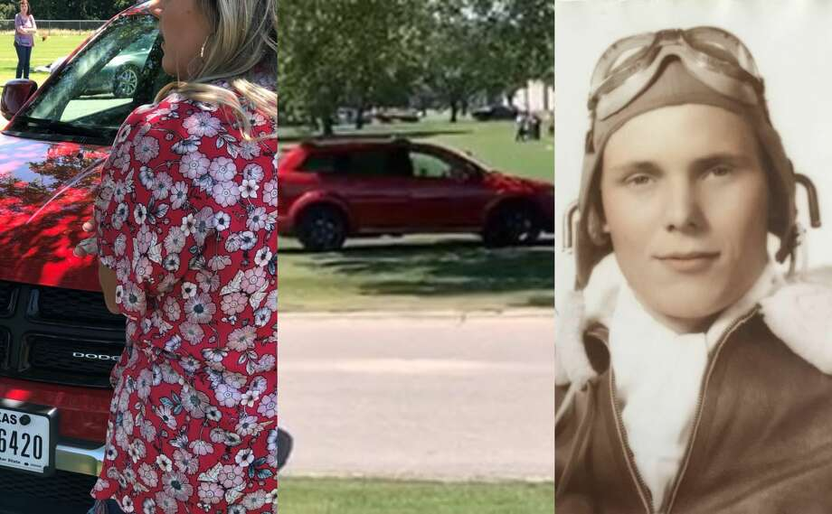 Police are searching for a woman caught on video driving over graves at the Houston National Cemetery on Sunday. The photo on the right is of 1st Lt. Robert Eugene Marsh, who is buried alongside his wife at the cemetery. Photo: Courtesy Amanda Hill