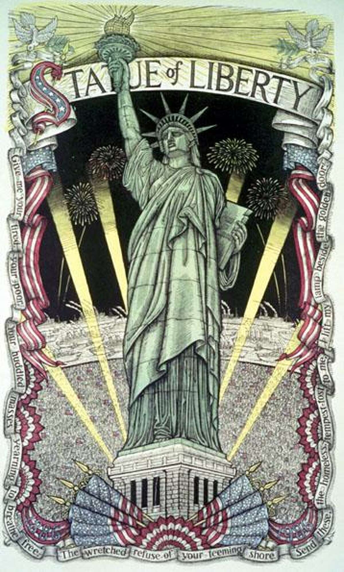 A woodcut of the Statue of Liberty done by Redding artist James Grashow.