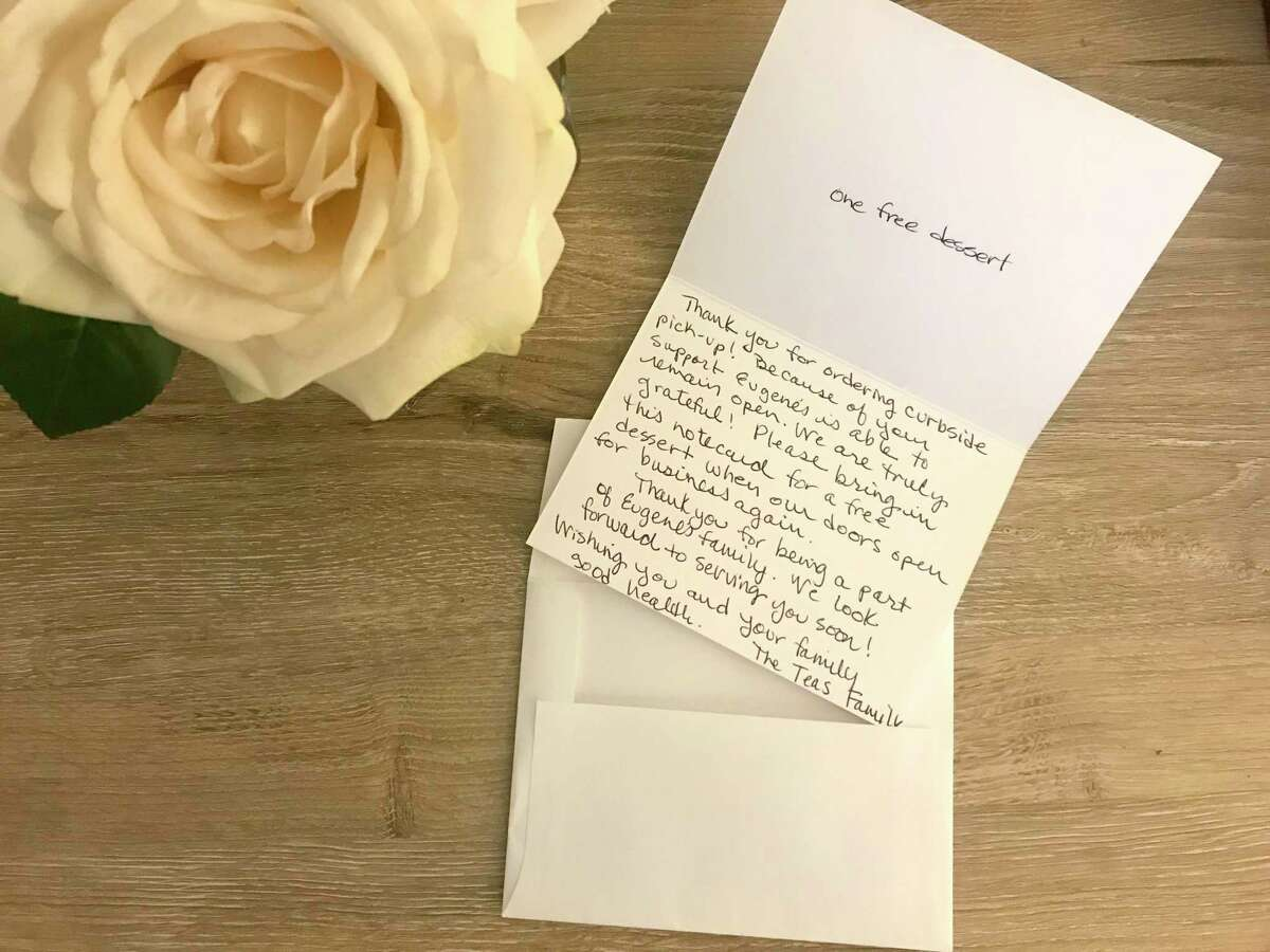 One of Clare Teas' individually written thank you notes from her restaraunt, Eugene's Gulf Coast Cuisine