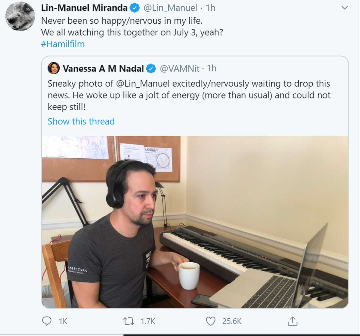 Vanessa Nadal, Lin-Manuel Miranda's wife, shared a photo of the multi-talented actor and musician waiting to share the news about