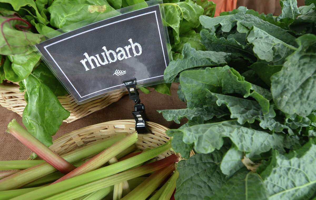Fresh Rhubarb from Ambler farm at the Wilton Farmers Market located on the grounds of The Wilton Historical Society on Wednesday June 8 2016 in Wilton Conn.
