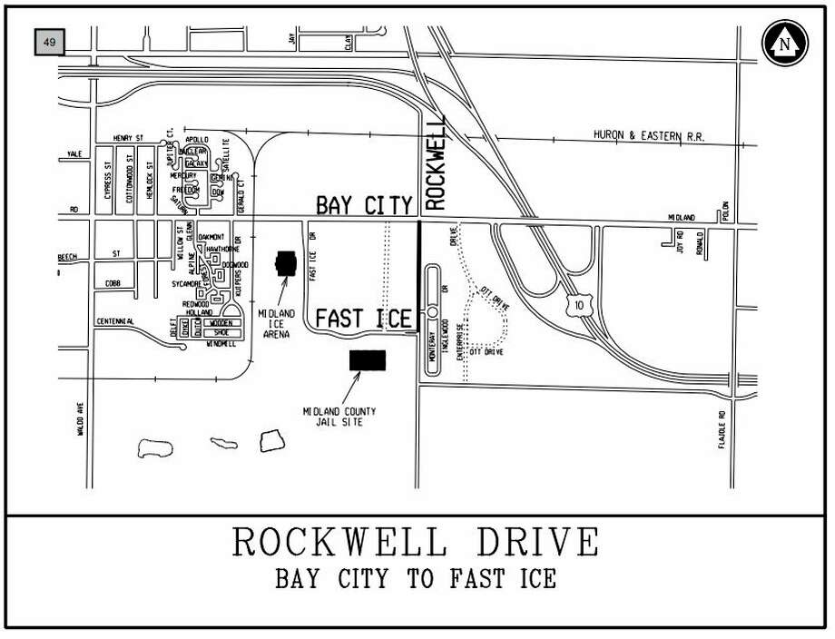 A map shows the portion of Rockwell Drive that will be reconstructed, from Bay City Road south to Fast Ice Drive, along the Costco property. (Agenda photo)