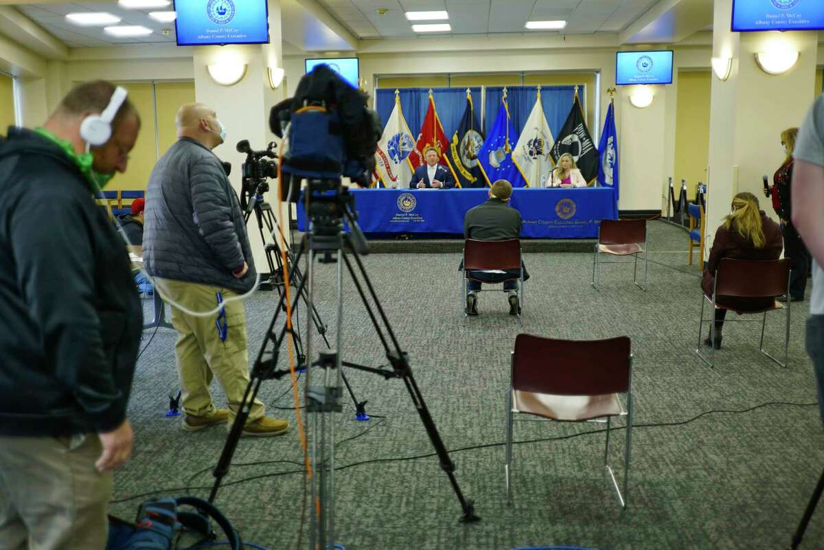 Albany County Executive Dan McCoy, left, and Albany County Department of Health Commissioner Dr. Elizabeth Whalen take part in the daily press conference to discuss covid-19 cases in the county on Tuesday, May 12, 2020, in Albany, N.Y. (Paul Buckowski/Times Union)