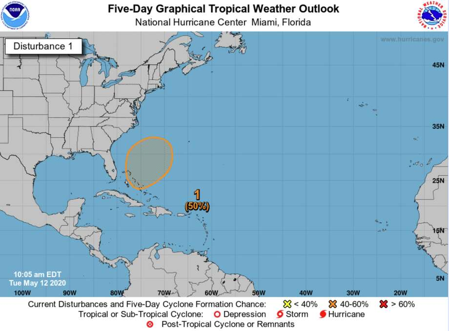 A disturbance in the Atlantic Ocean has a 50 percent chance of developing into a named storm, the first of the 2020 hurricane season, according to the National Hurricane Center. Photo: National Hurricane Center