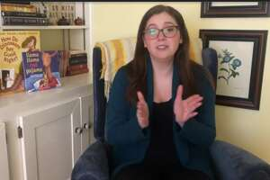 """Miss Alex,"" or Alexandra Bernat from the Arbor Hill branch, hosting an Albany Public Library ""Virtual Storytime"" (image from youtube.com/user/albanynylibrary)"