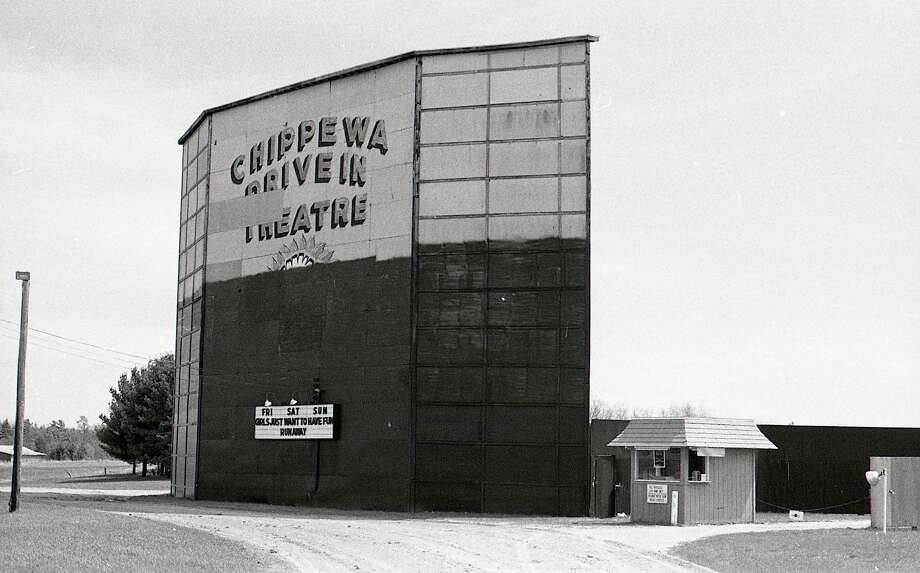 After a storm damaged the screen tower of the Chippewa Drive-In, it was repaired and repainted in April 1985. That summer was the last season for the drive-in. Photo: Courtesy Photo/Manistee County Historical Museum