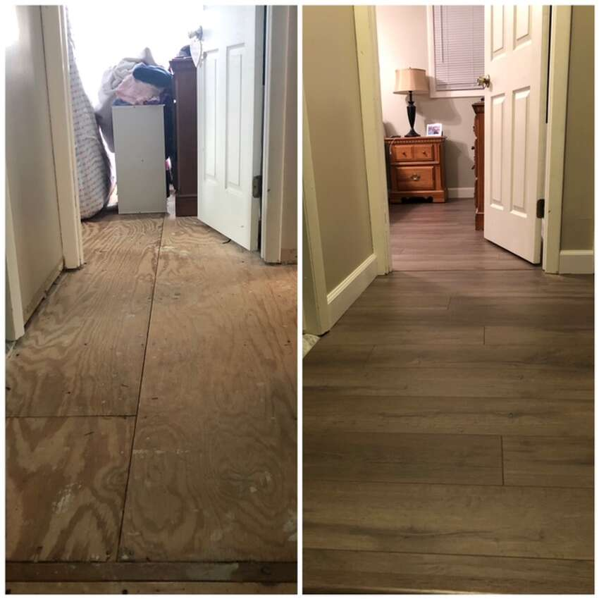 Mandy Ryan took advantage of being at home during the pandemic to redo the flooring in parts of her home. Here, before and after photos of new flooring in her hallway and bedrooms.