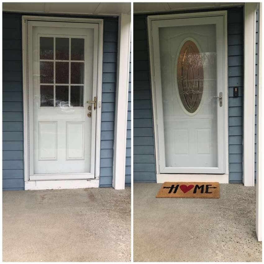 Before and after photos of the new door treatment at Mandy Ryan's home.