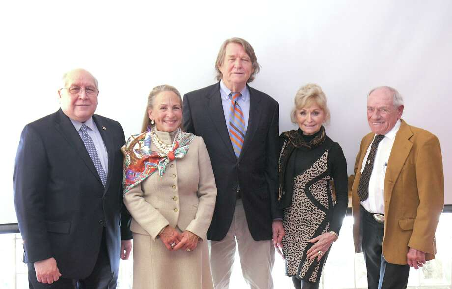 Laureates for the 2020 Laredo Business Hall of Fame were announced at a press conference at the Laredo Chamber of Commerce Conference Room, Thursday, February 6, 2020. This year's honorees are, from left, Gerald Schwebel, Elizabeth and Hank Sames and Marilyn and Keith Asmussen and their sons Cash and Steve. They were scheduled to be presented at the Laredo Country on Thursday, May 14, 2020. They are being honored for their contribution to the betterment of Laredo. All proceeds of the Laredo Business Hall of Fame benefit Junior Achievement's economic education programs in the Laredo Area. Photo: Cuate Santos /Laredo Morning Times File / Laredo Morning Times