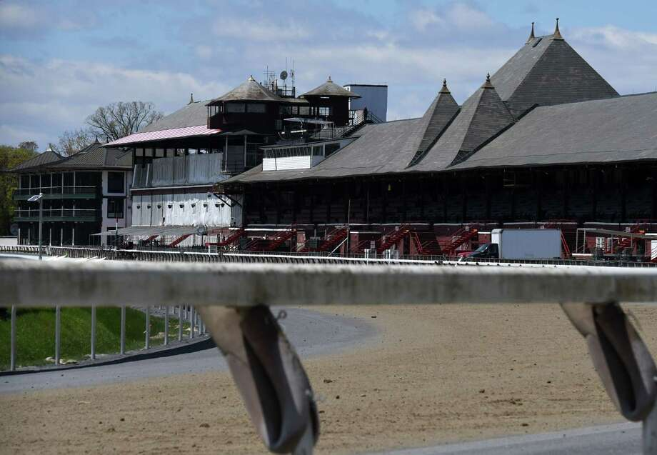 Saratoga Race Course sits empty during the off-season on Tuesday, May, 12, 2020, in Saratoga Springs, N.Y. The future of this year's meet is uncertain. (Will Waldron/Times Union) Photo: Will Waldron, Albany Times Union