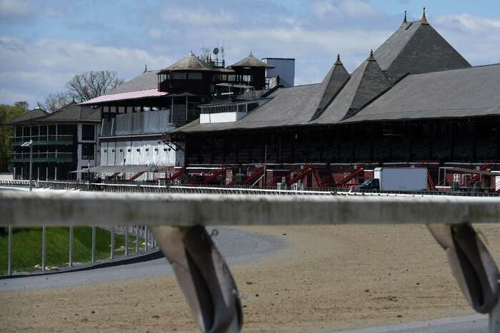 Saratoga Race Course sits empty during the off-season on Tuesday, May, 12, 2020, in Saratoga Springs, N.Y. The future of this year's meet is uncertain. (Will Waldron/Times Union)
